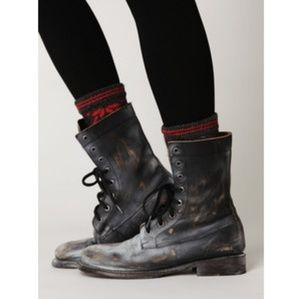 Free People Bed Stu Painted Distressed Combat Boot